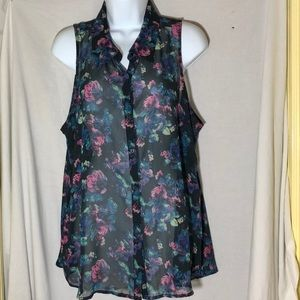 Decree Sheer Floral Sleeveless Blouse 🩱size XL